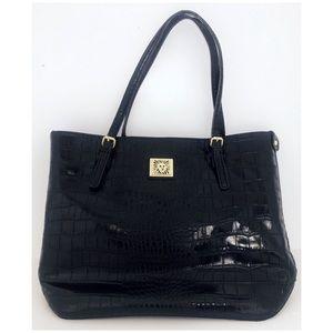 Ann Klein Black Leather Tote, Like New